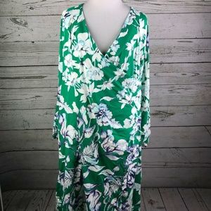 Soft Surroundings Green Floral Print V-Neck Dress
